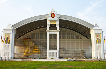 A large reclining Buddha in the Pavilion.