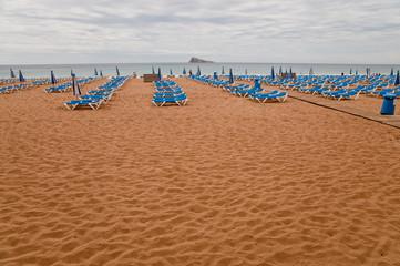 Fototapete - Strandliegen