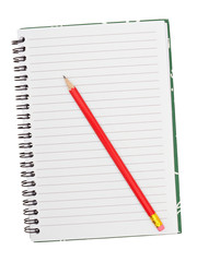 Blank notebook with red pencil - isolated