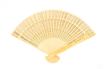 wooden chinese fan isolated on white