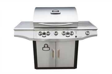 Barbecue gas grill in stainless steel, isolated