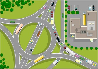 Photo sur Aluminium Route traffic roundabout