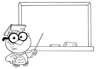 Outlined Professor Owl And Chalk Board