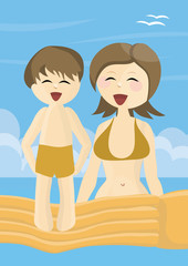 Smiling mother and son on vacations