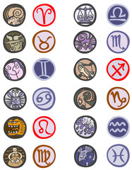 Zodiac symbols rings.