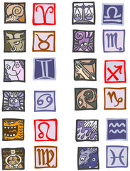 Cartoon zodiac signs.