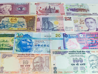 Banknotes Currency of Asia