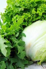 lettuce, arugula and iceberg lettuce