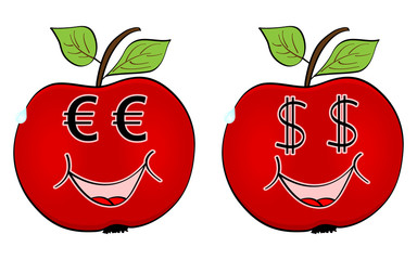 red apple with currency faces