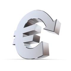 Shiny Euro Symbol with Arrow Down - Metallic