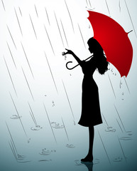 A Silhouette of a young girl with a red umbrella