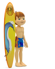 surf boy side view