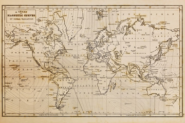 Old hand drawn vintage world map