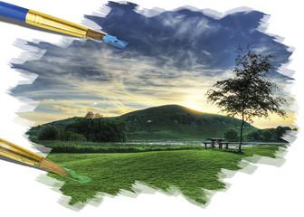 Painting idyllic summer landscape