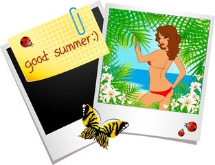 Beautiful girl on a summer beach in photo frames. Vector