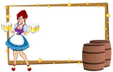 ビールを運ぶ女性のフレーム