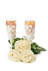 Champagne glass with roses