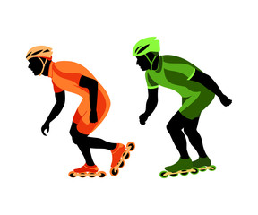 Roller skater silhouettes at the race