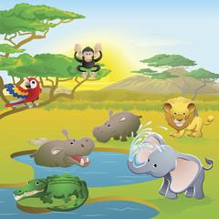 Cute African safari animal cartoon scene