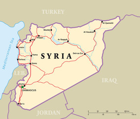 Syria political map with capital Damascus, national borders, most important cities, rivers and lakes. Illustration.