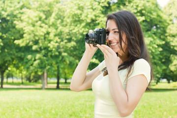 girl photographer outdoor