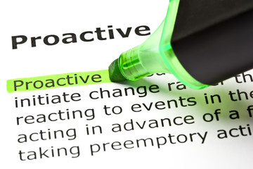 Dictionary definition of the word Proactive highlighted in green