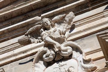 Statue of the angel, church of Saint Ignatius in Dubrovnik