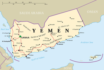 Yemen political map with capital Sanaa, national borders and most important cities. English labeling and scaling. Illustration.
