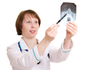 Woman doctor on a white background.