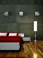 Schlafzimmer weiß rot mit Beleuchtung