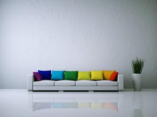 Weißes Sofa mit Kissen Regenbogenfarben