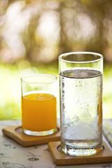 water and orange juice