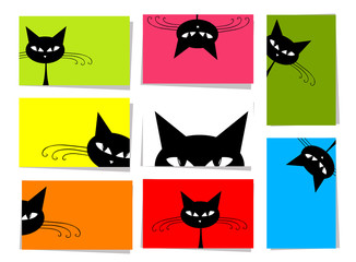Set of funny cats, 10 cards with place for your text