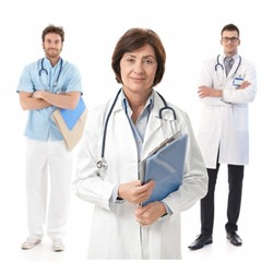 Experienced female doctor with medical students