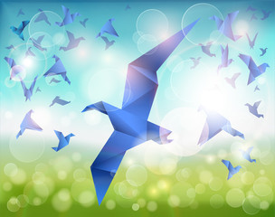 Spoed Fotobehang Geometrische dieren Paper Flight, Origami Blue Birds fly over beautiful landscape.