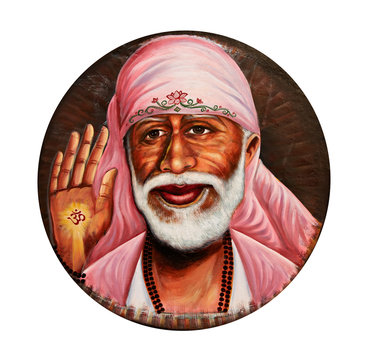 Colorful picture of Sai Baba in the white circl