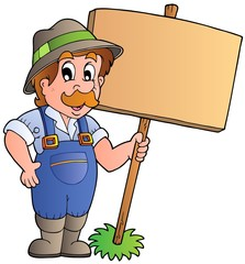 Foto auf Gartenposter Bauernhof Cartoon farmer holding wooden board