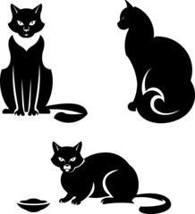 Vector black and white illustration – Cats