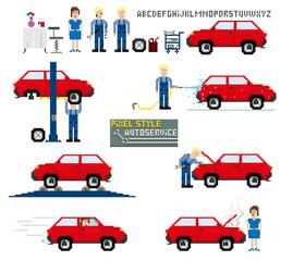 Pixel art style. Auto service. Vector illustration.