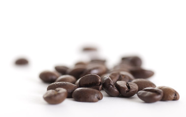 Coffe beans on white background