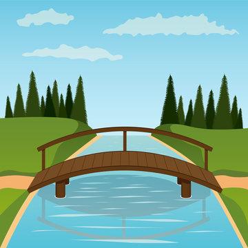 Small wooden bridge. Vector illustration.
