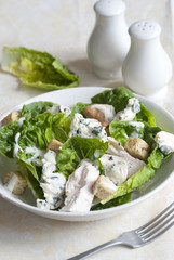 Chicken, lettuce and blue cheese salad