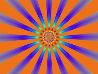 Keuken foto achterwand Psychedelic Orange and Blue Sun-Burst