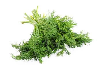 Bunch of dill isolated on the white background
