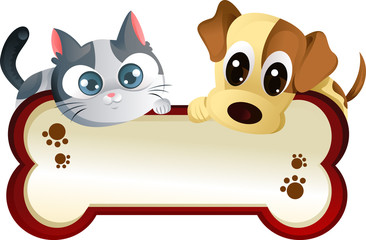 Printed kitchen splashbacks Cats Dog and cat with banner