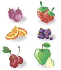 set fruit and berries