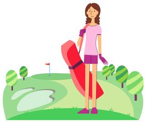 ゴルフ場に立つ女性