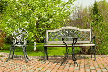 Patio furniture in the garden