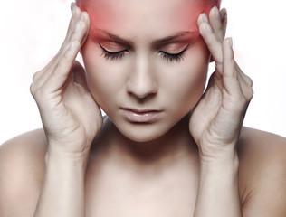 Obraz woman with headache on white background - fototapety do salonu