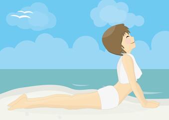 Beatiful woman practicing yoga on a beach